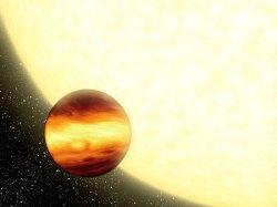 An artist's conception shows a gas-giant planet orbiting very close to its parent star - NASA/JPL-Caltech/R. Hurt (SSC)