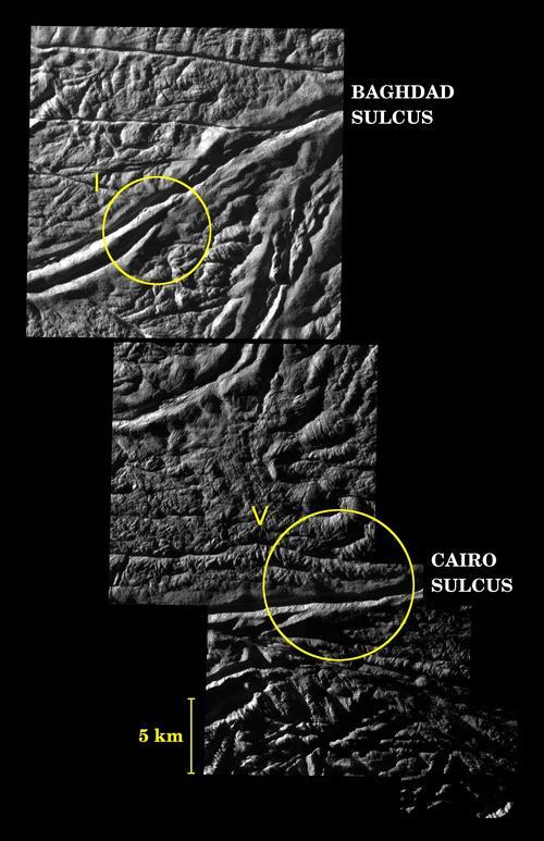 Surcos Baghdad y Cairo en Encélado (NASA/JPL/Space Science Institute)