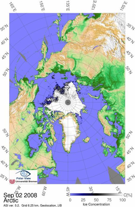 Mapa del hielo ártico calculado con los datos del AMSR-E
