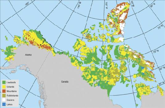 Mapa del paisaje ártico norteamericano (10.1038/ngeo284)