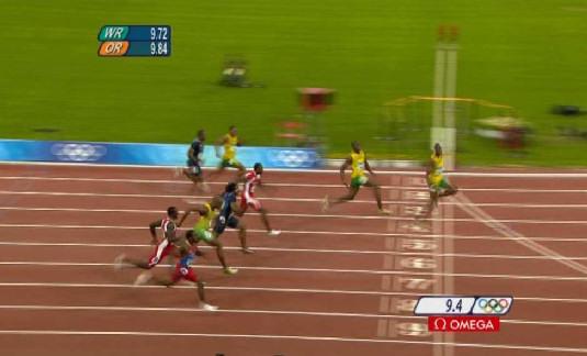 Proyección del récord de Usain Bolt a 9.55s