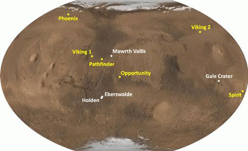 Sitios preseleccionados para el aterrizaje del MSL (en blanco). El lugar de aterrizaje de anteriores misiones se muestra en amarillo.