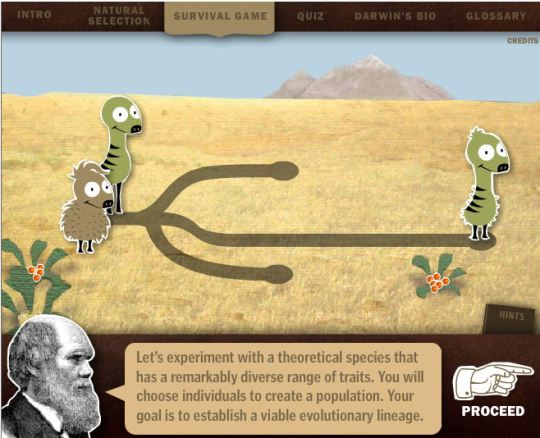 Darwin's Evolution Game (click para jugar)
