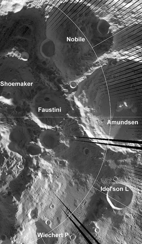 Detalle de cráteres de impacto en los que se encuentran regiones superfrías. NASA/GSFC/UCLA