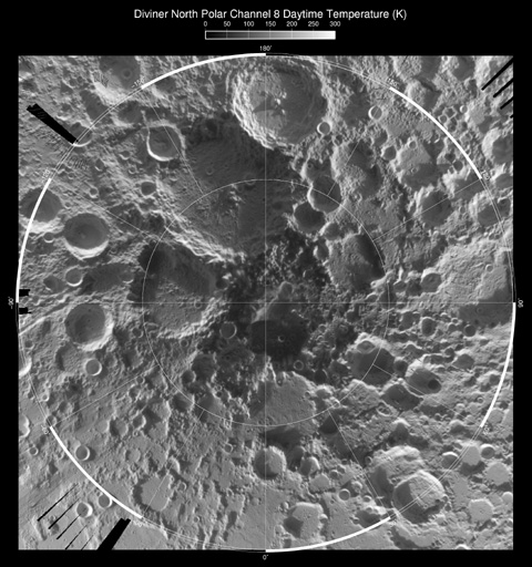 Mapa térmico diurno del Polo Norte lunar. NASA/GSFC/UCLA