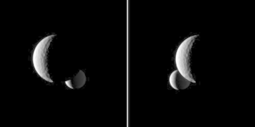 Enceladus Behind Tethys